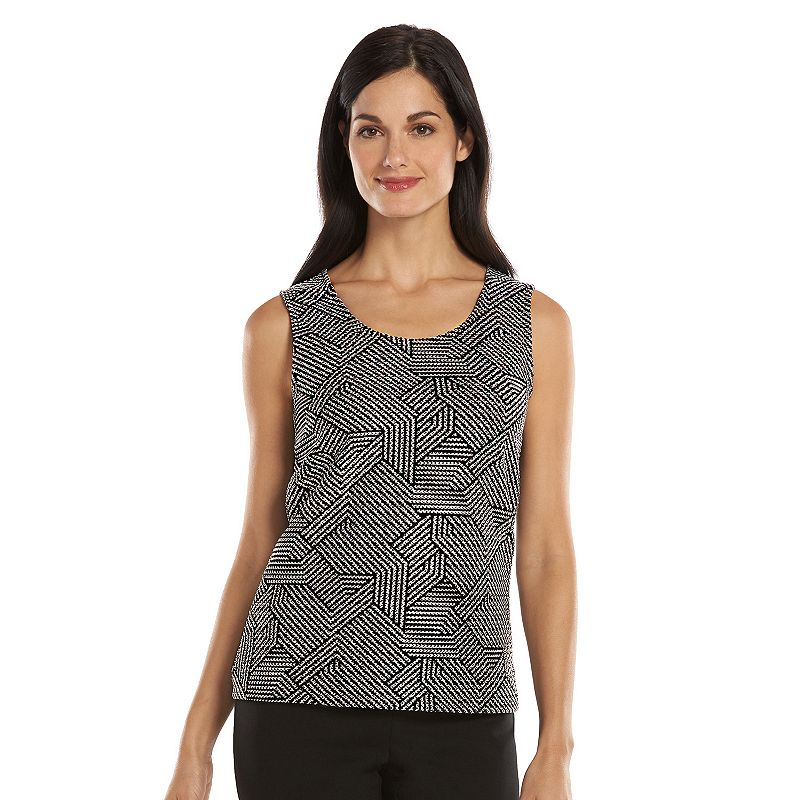 Dana Buchman Essential Textured Geometric Tank - Women's