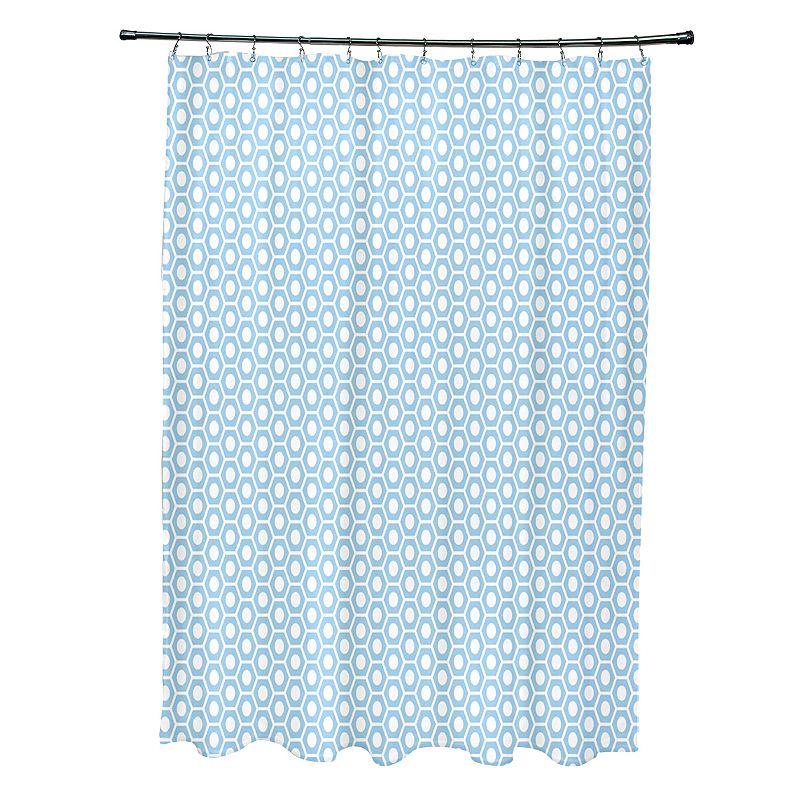 E By Design Geometric Fabric Shower Curtain