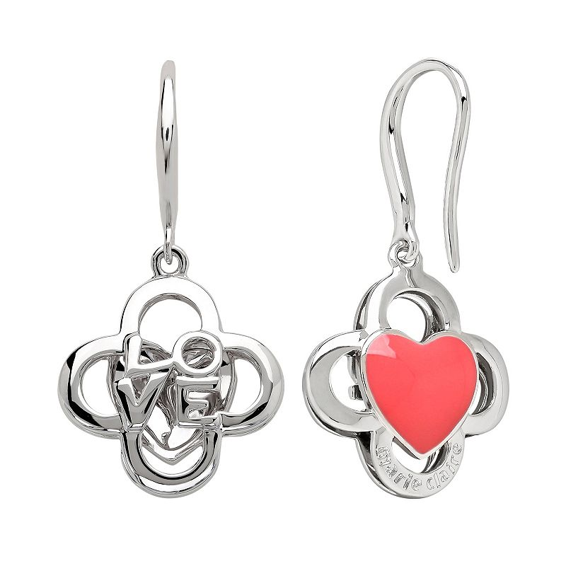 Marie Claire Jewelry Crystal Silver Tone Clover & Heart Drop Earrings