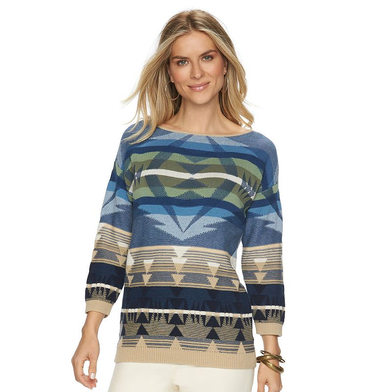 Petite ChapsTribal Boatneck Sweater