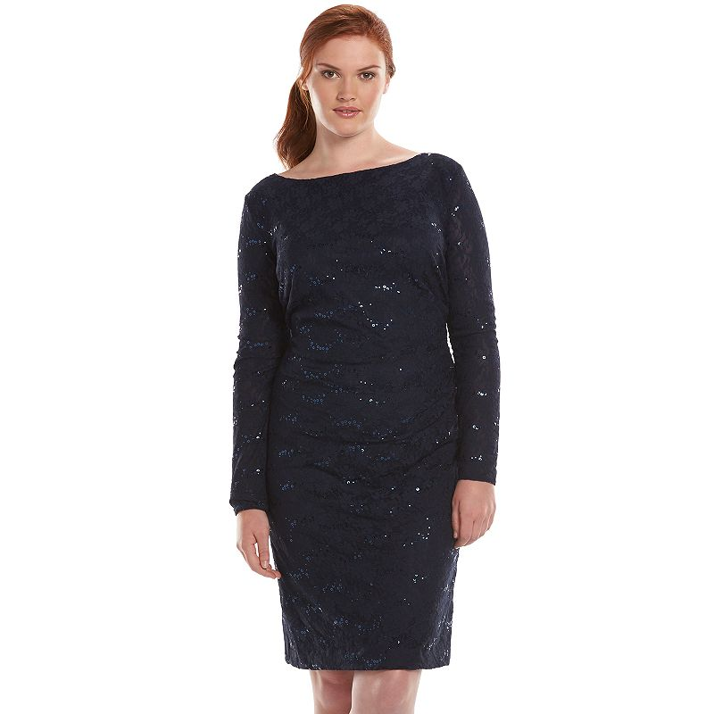 Plus Size Chaps Sequined Lace Sheath Dress