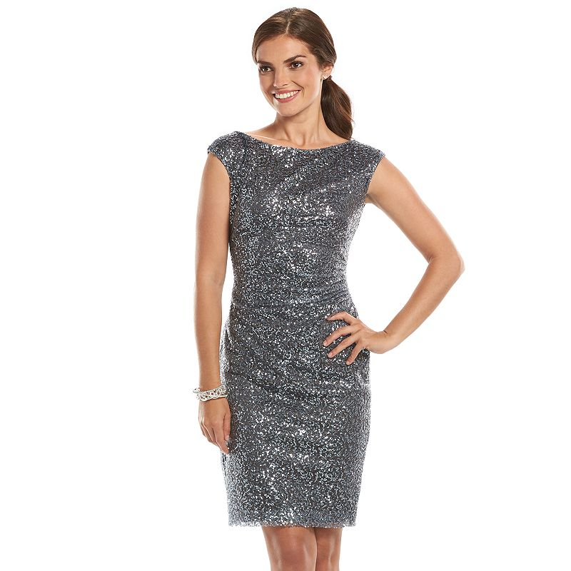 Chaps Sequin Pleated Sheath Dress - Women's