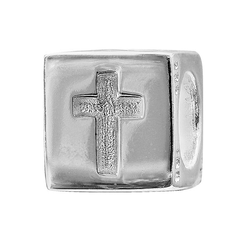 Individuality Beads Sterling Silver Heart & Cross Cube Bead