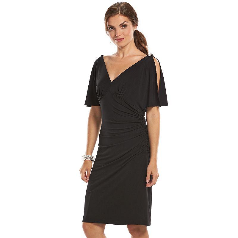 Chaps Ruched Sheath Evening Dress - Women's