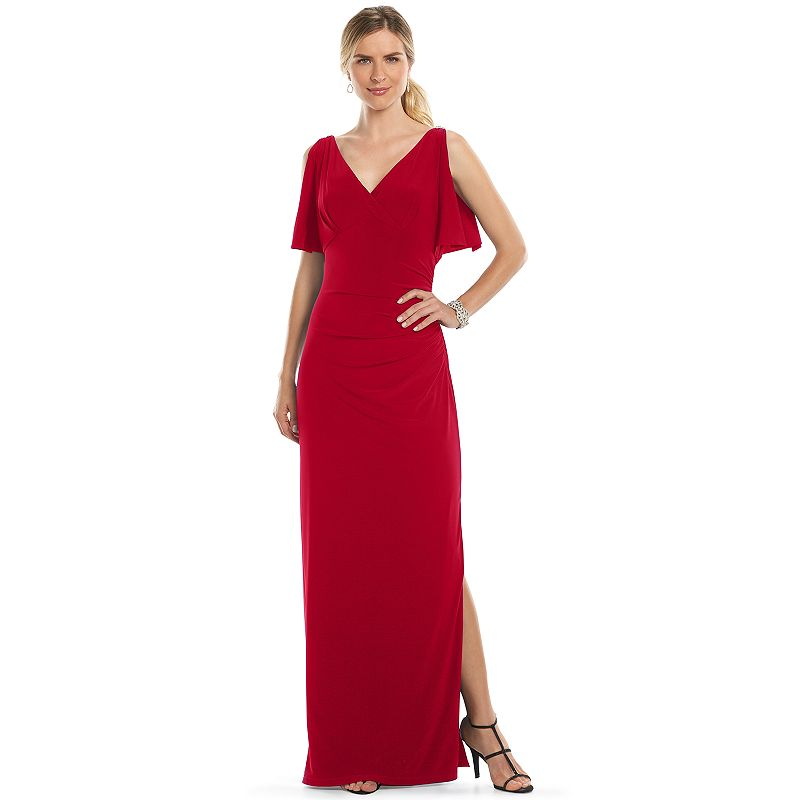 Chaps Surplice Ruched Evening Gown