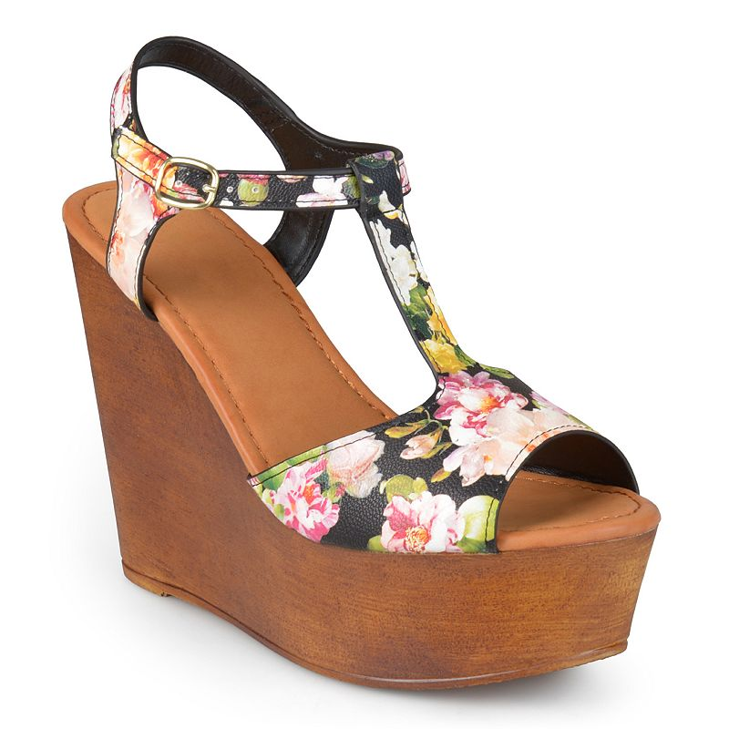 Journee Collection Woobery Women's Peep-Toe Platform Wedge Sandals