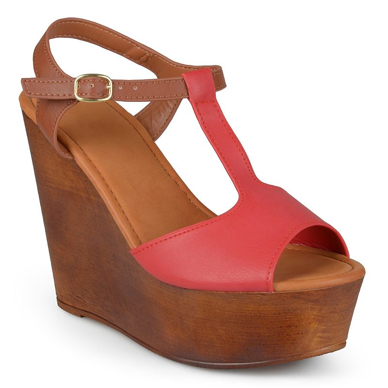Journee Collection Woobery Women's Peep-Toe Platform Wedge Sandals