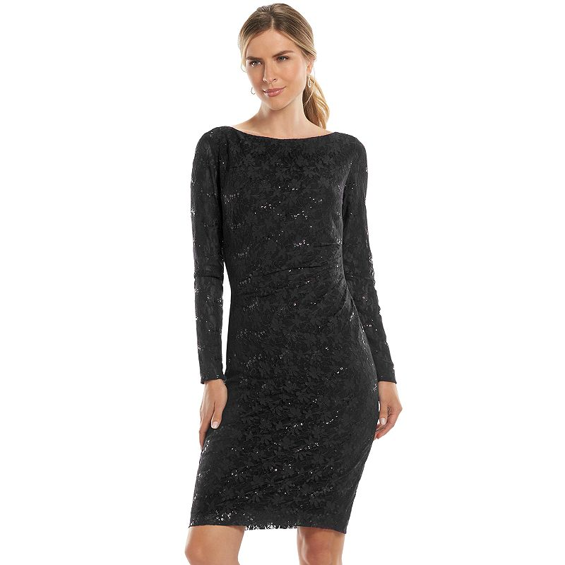 Chaps Sequined Lace Sheath Dress