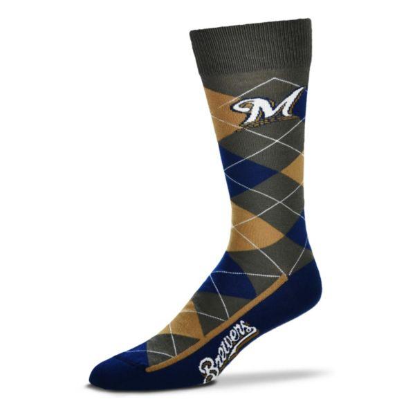 Men's For Bare Feet Milwaukee Brewers Argyle Dress Socks