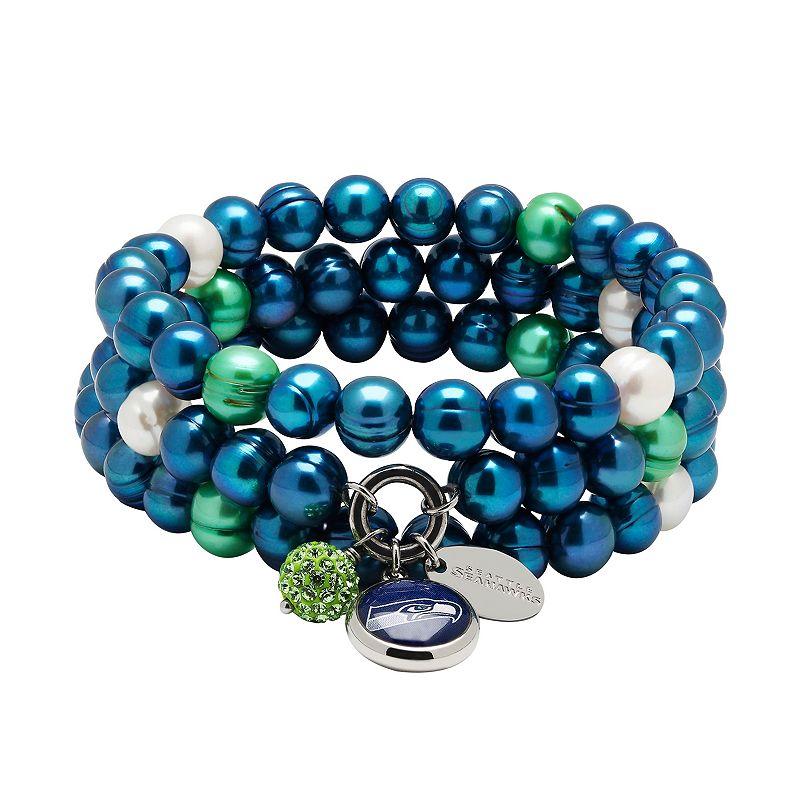 Seattle Seahawks Dyed Freshwater Cultured Pearl Team Logo Charm Stretch Bracelet Set