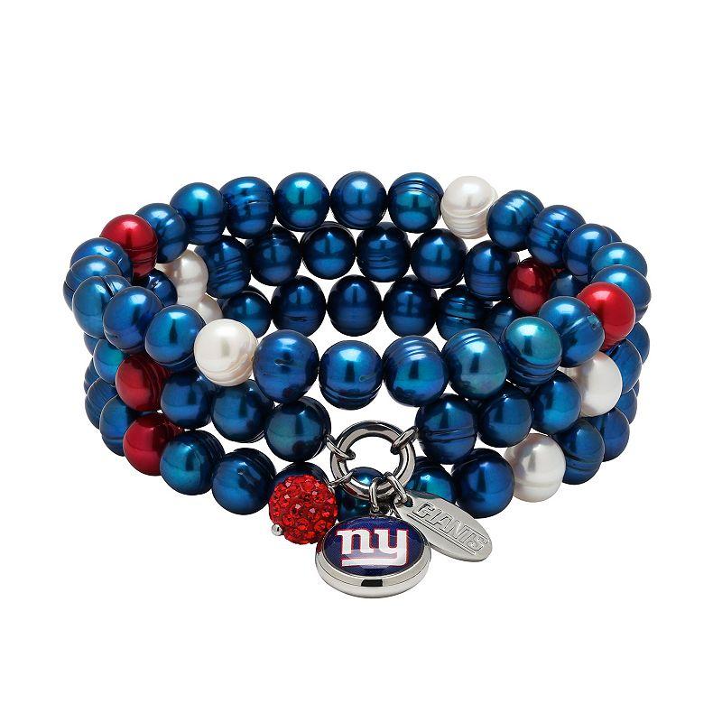 New York Giants Dyed Freshwater Cultured Pearl Team Logo Charm Stretch Bracelet Set