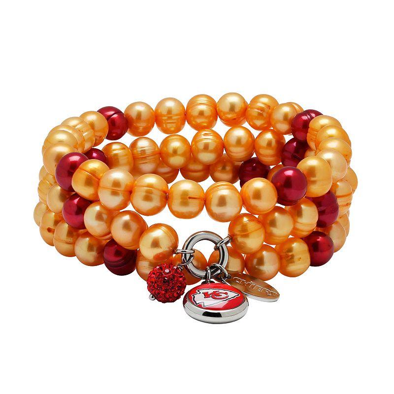Kansas City Chiefs Dyed Freshwater Cultured Pearl Team Logo Charm Stretch Bracelet Set