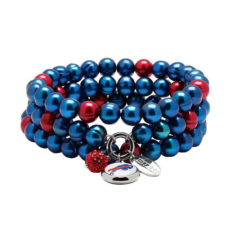 Buffalo Bills Dyed Freshwater Cultured Pearl Team Logo Charm Stretch Bracelet Set