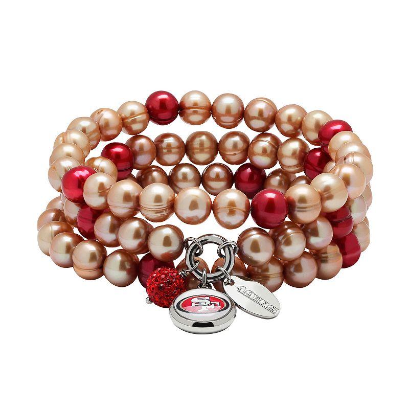 San Francisco 49ers Dyed Freshwater Cultured Pearl Team Logo Charm Stretch Bracelet Set