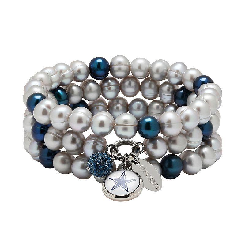 Dallas Cowboys Dyed Freshwater Cultured Pearl Team Logo Charm Stretch Bracelet Set
