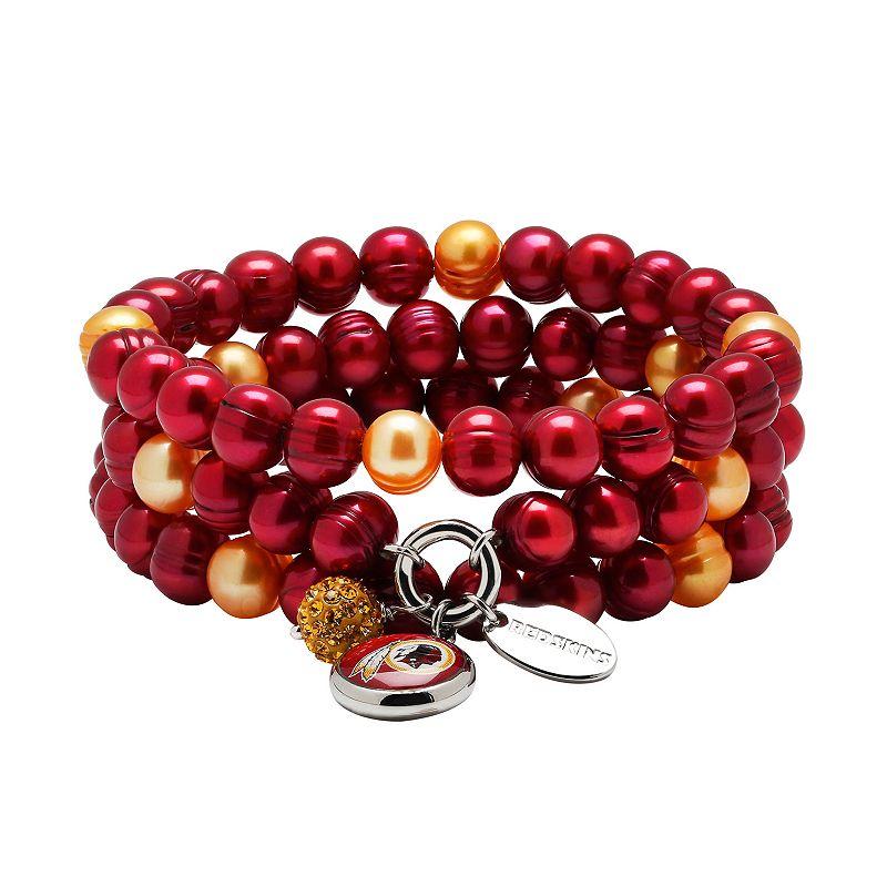 Washington Redskins Dyed Freshwater Cultured Pearl Team Logo Charm Stretch Bracelet Set