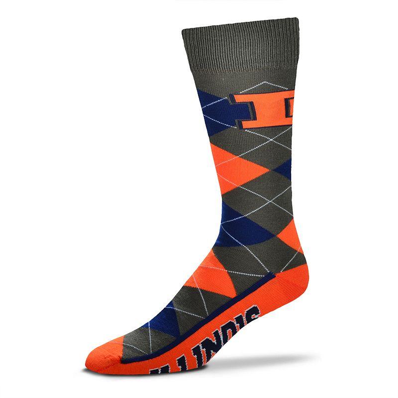 Men's For Bare Feet Illinois Fighting Illini Argyle Dress Socks