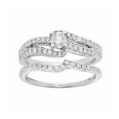 IGL Certified Diamond Swirl Engagement Ring Set in 14k White Gold (1 Carat T.W.) by