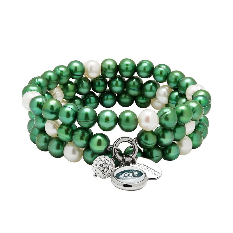 New York Jets Dyed Freshwater Cultured Pearl Team Logo Charm Stretch Bracelet Set