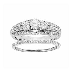 IGL Certified Diamond 3-Stone Engagement Ring Set in 14k White Gold (1 Carat T.W.) by