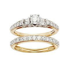 IGL Certified Diamond Engagement Ring Set in Two Tone 14k Gold (1 Carat T.W.) by
