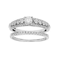 IGL Certified Diamond Engagement Ring Set in 14k White Gold (1 Carat T.W.) by