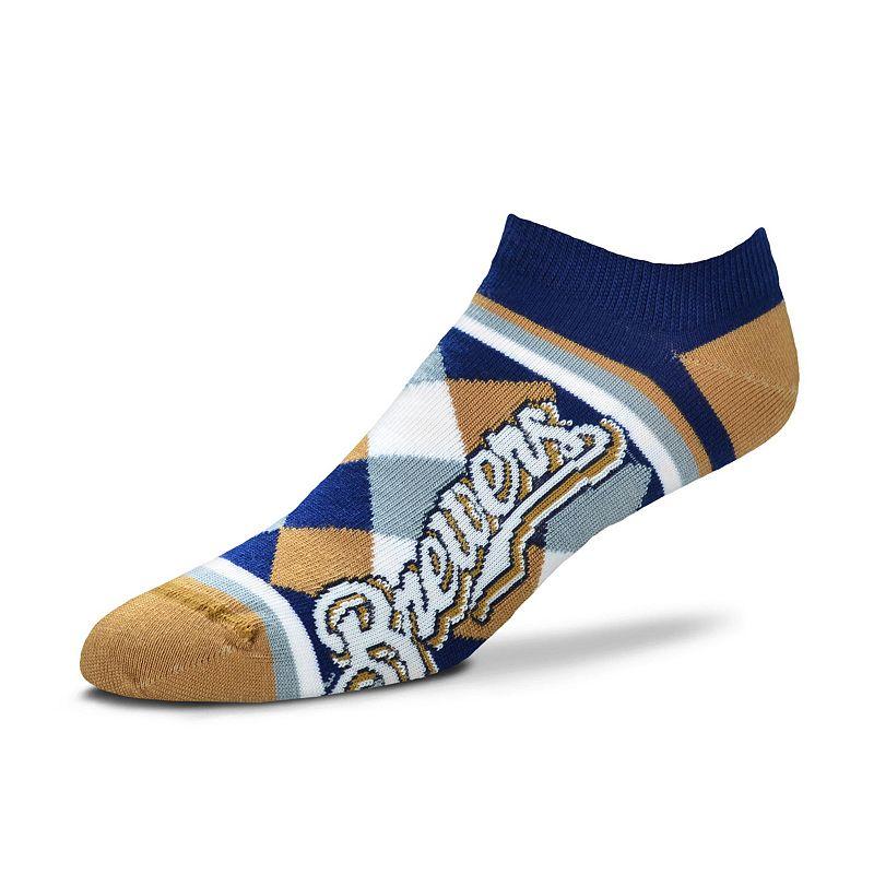 Women's For Bare Feet Milwaukee Brewers Argyle No-Show Socks