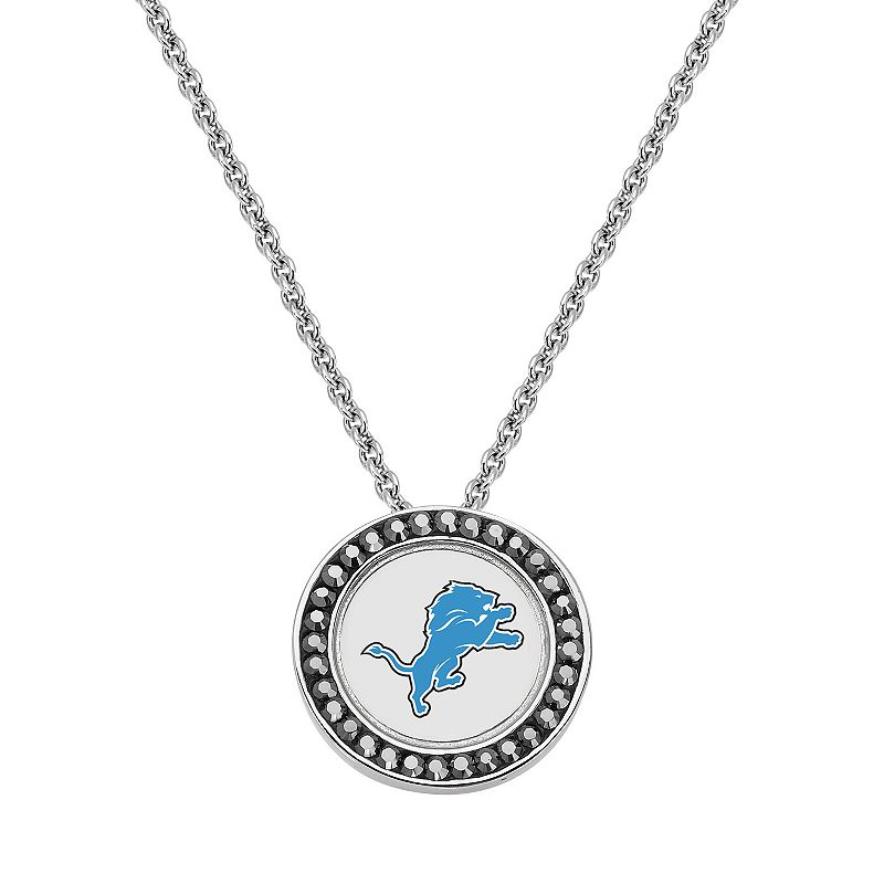 Detroit Lions Team Logo Crystal Pendant Necklace - Made with Swarovski Crystals