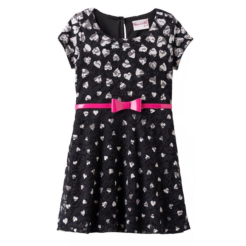 Nannette Heart Lace Dress - Toddler Girl