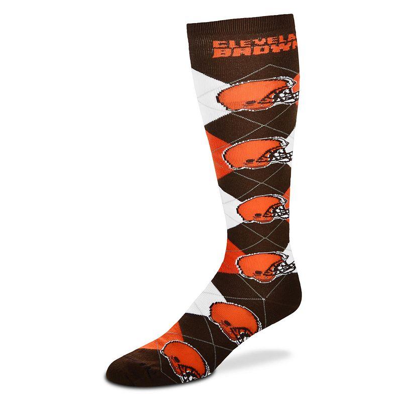 Women's For Bare Feet Cleveland Browns Argyle Knee-High Socks