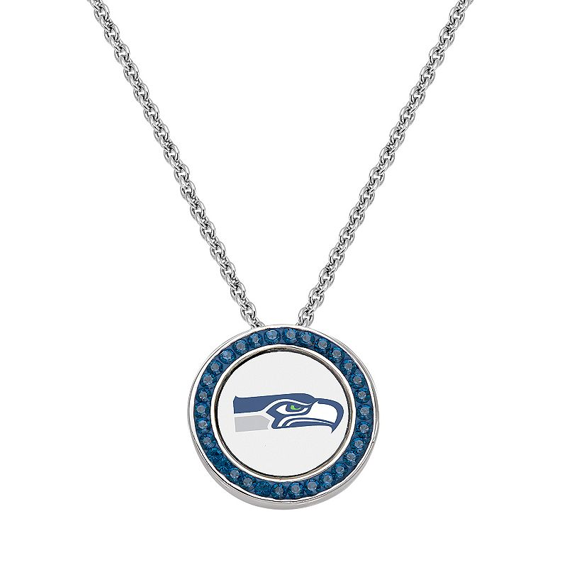 Seattle Seahawks Team Logo Crystal Pendant Necklace - Made with Swarovski Crystals