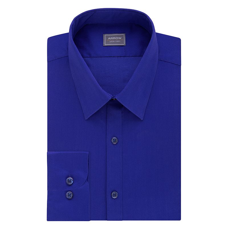 Men 39 s arrow slim fit solid point collar dress shirt size for 17 33 shirt size