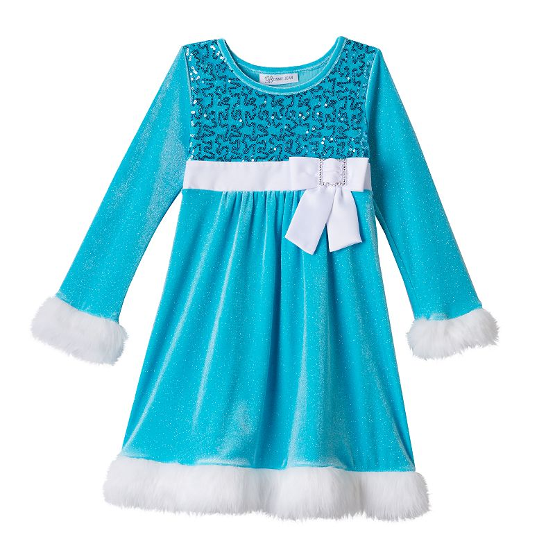 Bonnie Jean Sequin Santa Dress Toddler Girl 2t Blue | Clothing