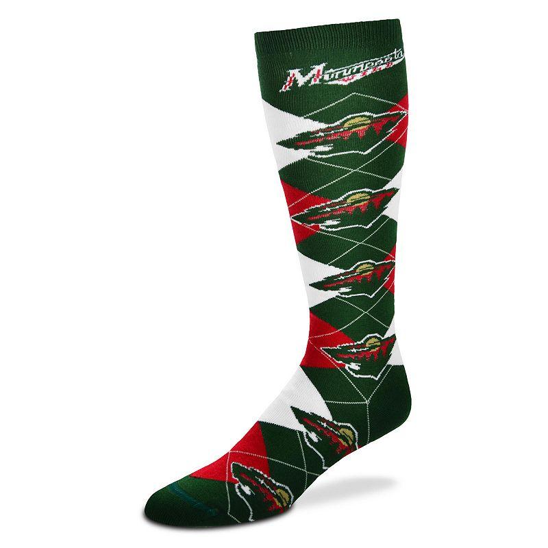 Women's For Bare Feet Minnesota Wild Argyle Knee-High Socks