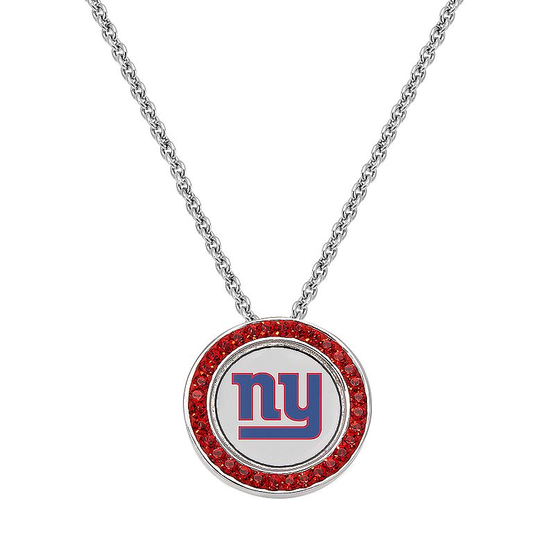 New York Giants Team Logo Crystal Pendant Necklace - Made with Swarovski Crystals