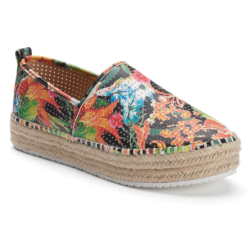 Candie's® Women's Floral Perforated Espadrille Slip-On Shoes