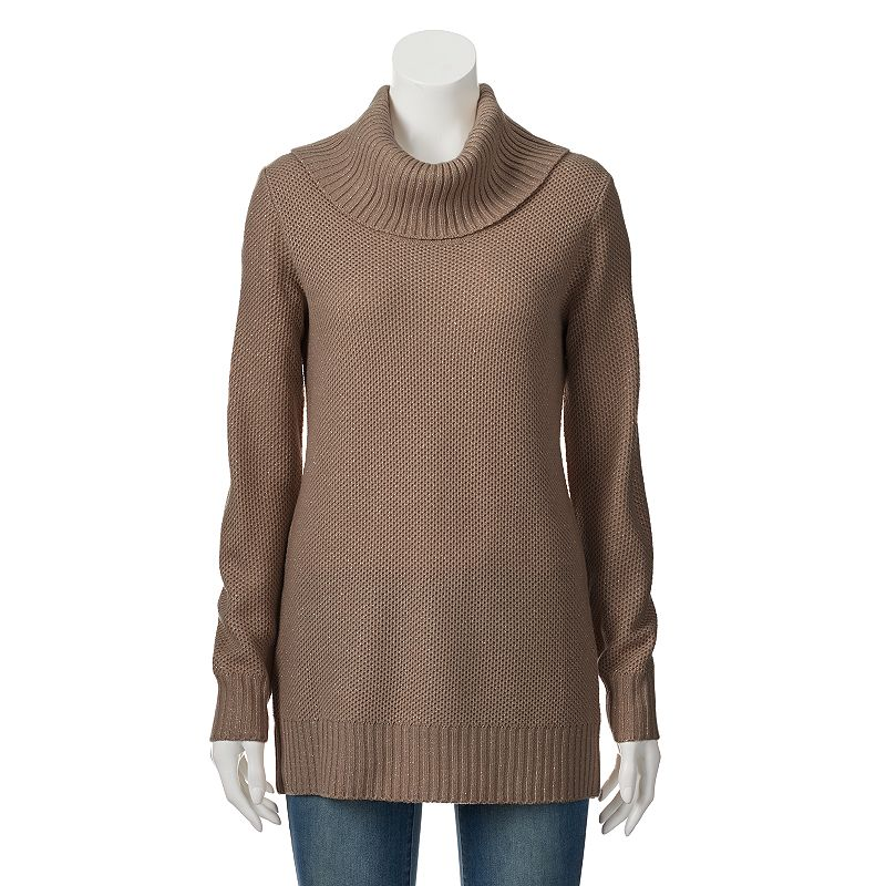 Apt. 9® Lurex Cowlneck Tunic Sweater - Women's
