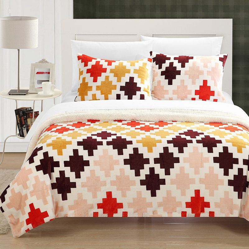 Mia Plush Microsuede & Sherpa 3-pc. Reversible Comforter Set