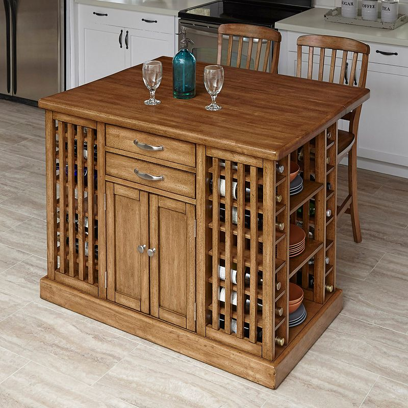 Home Styles Vintner 3-piece Kitchen Island & Stools Set