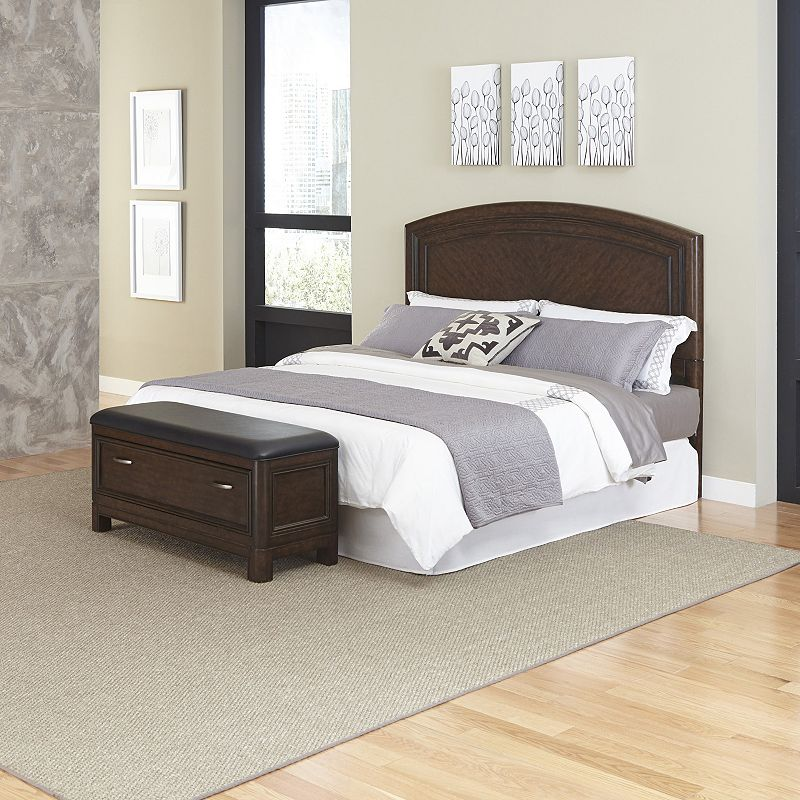 Home Styles Crescent Hill 2-piece Headboard and Upholstered Bench Set