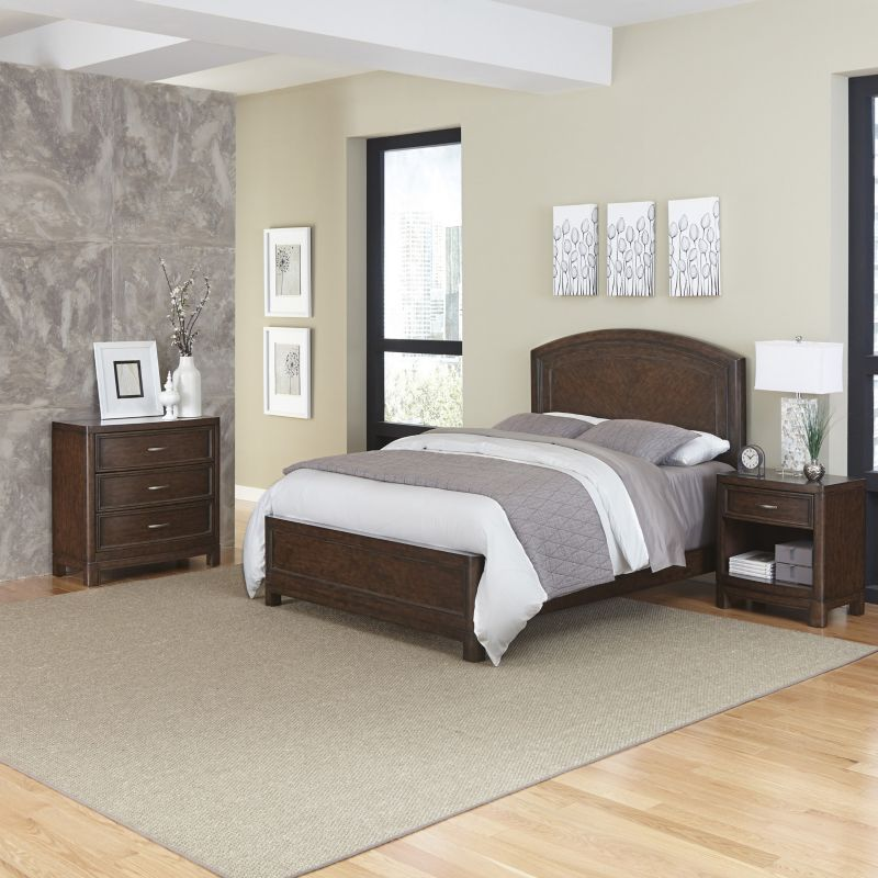Home Styles Crescent Hill 3-piece Bed, Nightstand, and Drawer Set, Brown thumbnail