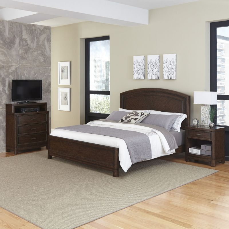Home Styles Crescent Hill 3-piece Bed, Nightstand, and Media Drawer Set, Brown thumbnail