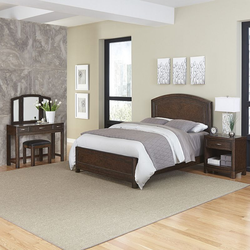 Home Styles Crescent Hill 3-piece Bed, Nightstand, and Vanity Set