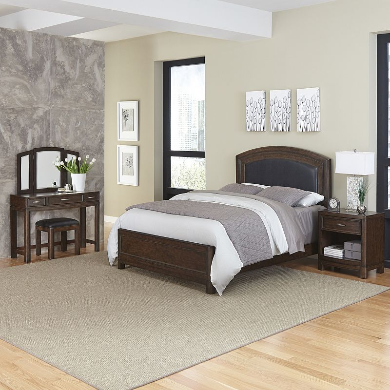 Home Styles Crescent Hill 3-piece Leather Upholstered Bed, Nightstand, and Vanity Set