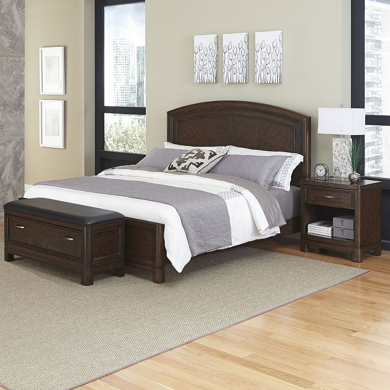 Home Styles Crescent Hill 3-piece Bed, Nightstand, and Upholstered Bench Set