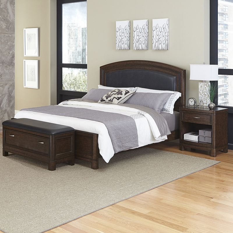 Home Styles Crescent Hill 3-piece Leather Upholstered Bed, Nightstand, and Upholstered Bench Set