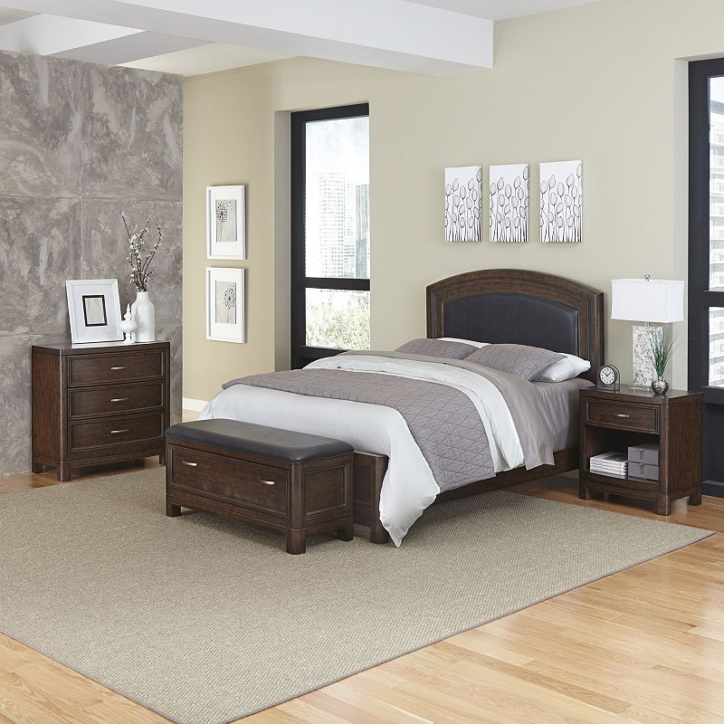 Home Styles Crescent Hill 4-piece Leather Upholstered Bed, Nightstand, Upholstered Bench, and Drawer Set