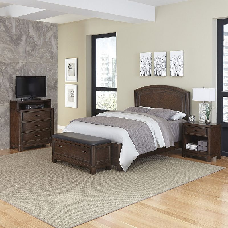 Home Styles Crescent Hill 4-piece Bed, Nightstand, Upholstered Bench, and Media Drawer Set