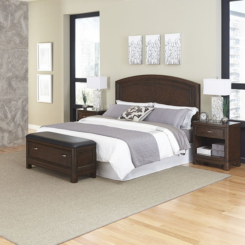 Home Styles Crescent Hill 4-piece Bed, Two Nightstands, and Upholstered Bench Set