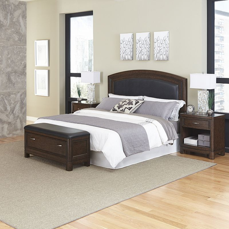 Home Styles Crescent Hill 4-piece Leather Upholstered Bed, Two Nightstands, and Upholstered Bench Set